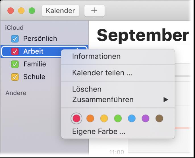 """Das Kontextmenü """"Kalender"""" mit Optionen zum Anpassen der Farbe eines Kalenders"""