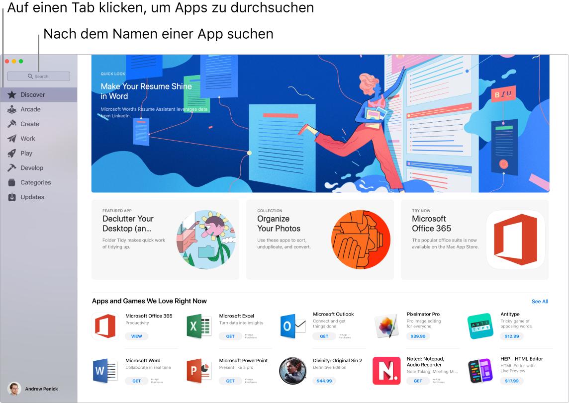 App Store-Fenster mit Suchfeld.