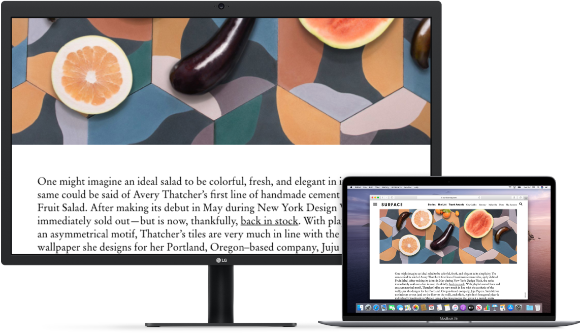 Zoom Display is active on the desktop screen, while the screen size stays fixed on MacBook Air.