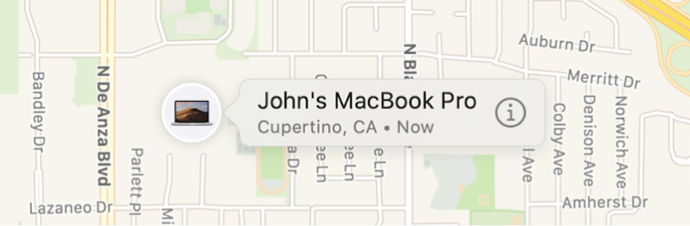 A close up of the Info icon for John's MacBook Pro.