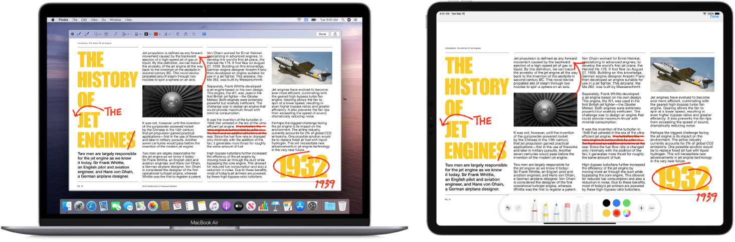 A MacBook Air and an iPad sit side by side. Both screens display an article covered in scribbled red edits, such as crossed out sentences, arrows, and added words. The iPad also has mark up controls at the bottom of the screen.