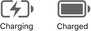 Charging and charged battery status icons.