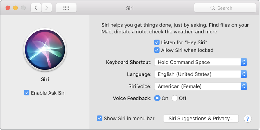 "The Siri preferences window with Enable Ask Siri chosen on the left and several options for customizing Siri on the right, including ""Listen for 'Hey Siri'."""