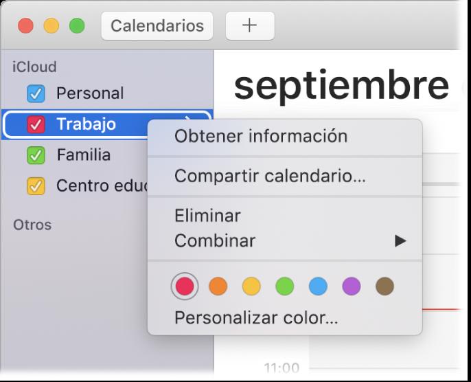 Menú de función rápida de Calendario con opciones para personalizar el color de un calendario.