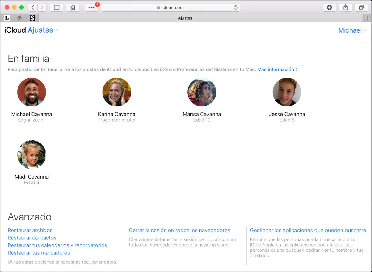 """Una ventana de Safari con los ajustes de """"En familia"""" en iCloud.com."""