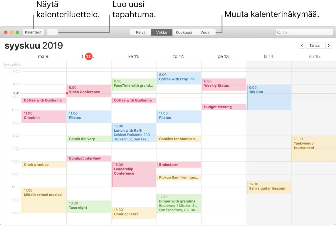 Kalenteri-ikkuna, jossa näytetään, kuinka tapahtuma lisätään, kalenteriluettelo näytetään ja valitaan näkymäksi päivä, viikko, kuukausi tai vuosi.