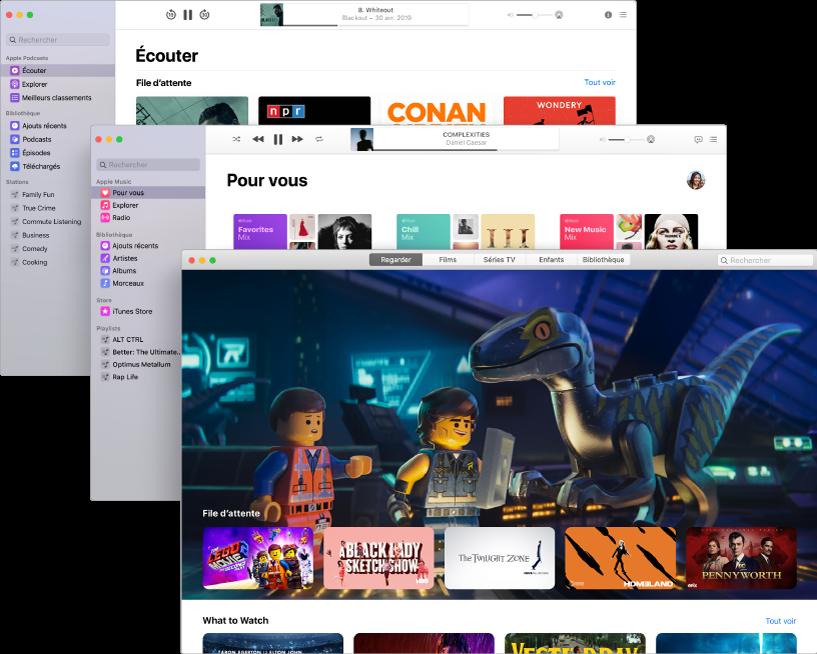 Écrans superposés des apps multimédias (Podcasts, Musique et Apple TV) avec l'AppleTV au premier plan, montrant le film La Grande Aventure Lego2.