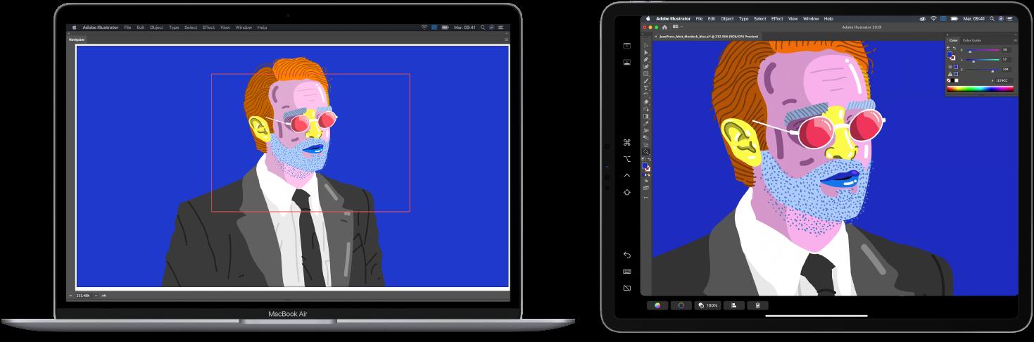 Un MacBookAir et un iPad côte à côte. Le MacBookAir affiche une illustration dans la fenêtre de navigateur d'Illustrator. L'iPad affiche la même illustration dans la fenêtre de document d'Illustrator, entourée par des barres d'outils.