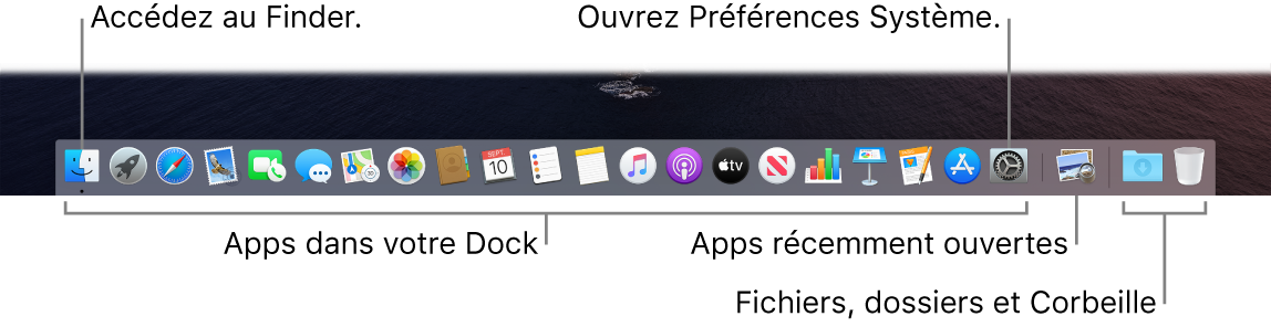 Le Dock affichant le Finder, les Préférences Système et le trait dans le Dock séparant les apps des fichiers et dossiers.