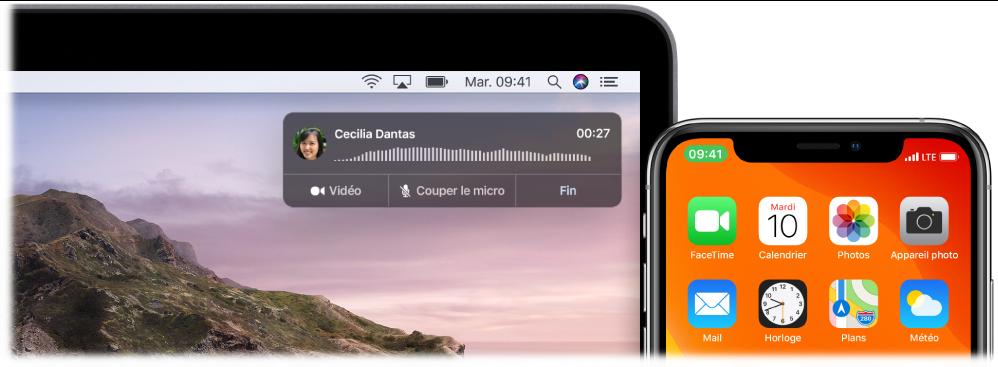 Écran d'un Mac affichant la fenêtre de notification d'appel en haut à droite, et un iPhone indiquant qu'un appel est en cours à travers le Mac.