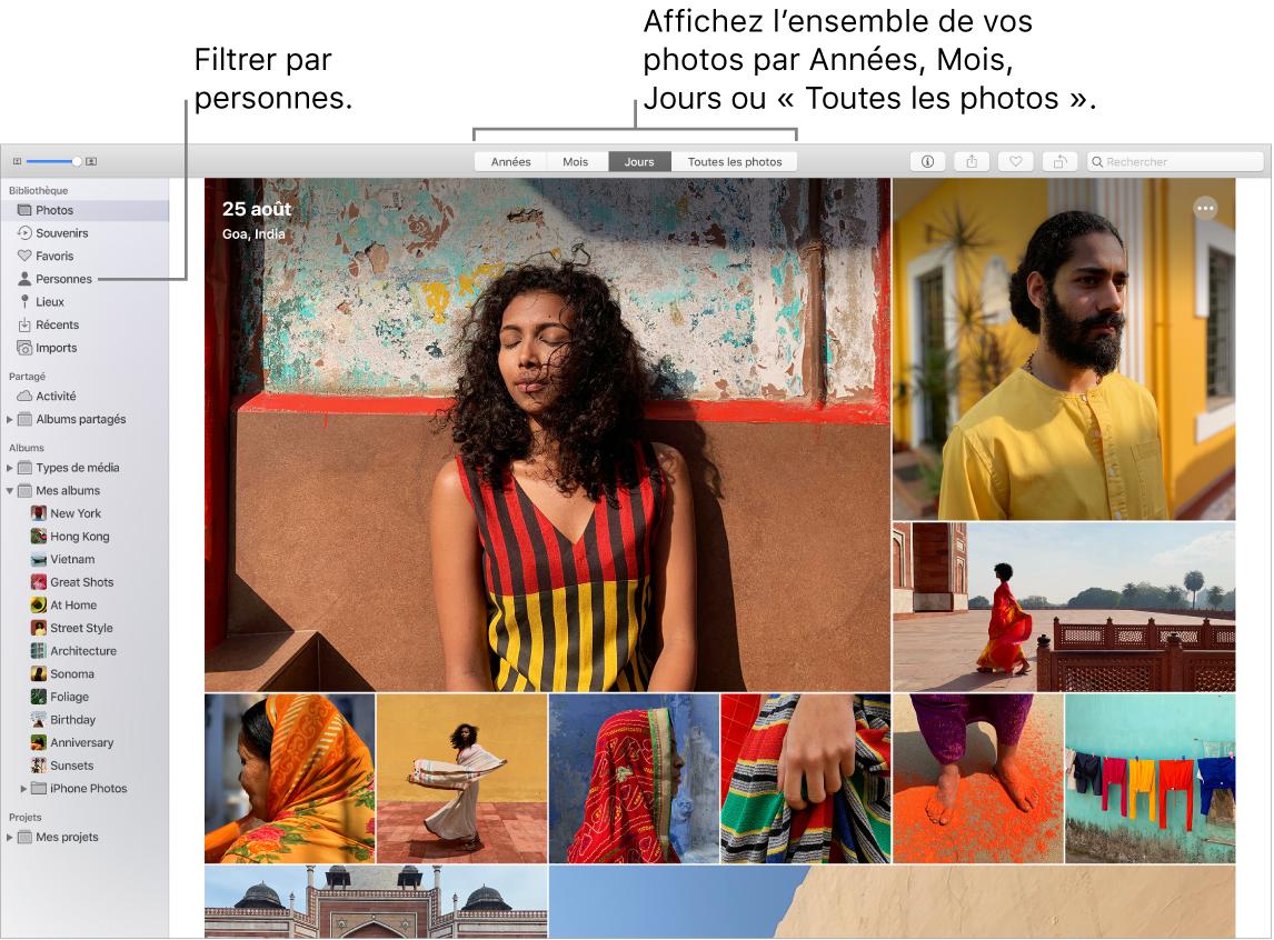 Une fenêtre Photos montrant comment filtrer les photos dans votre album de différentes façons.