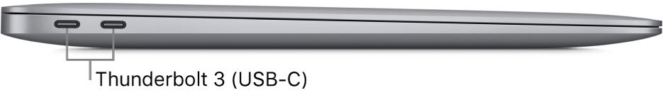 Le côté gauche d'un MacBookAir, avec des légendes pour les ports Thunderbolt3 (USB-C).