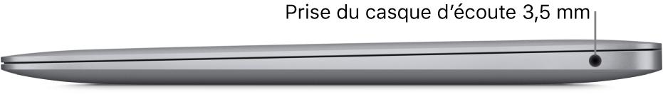 Le côté droit d'un MacBookAir, avec des légendes pour la prise casque 3,5mm.