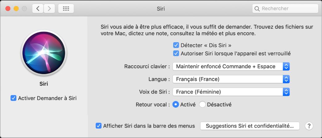 La fenêtre des préférences Siri, avec l'option Activer Demander à Siri sélectionnée à gauche et plusieurs options pour personnaliser Siri à droite, notamment Détecter «Dis Siri».
