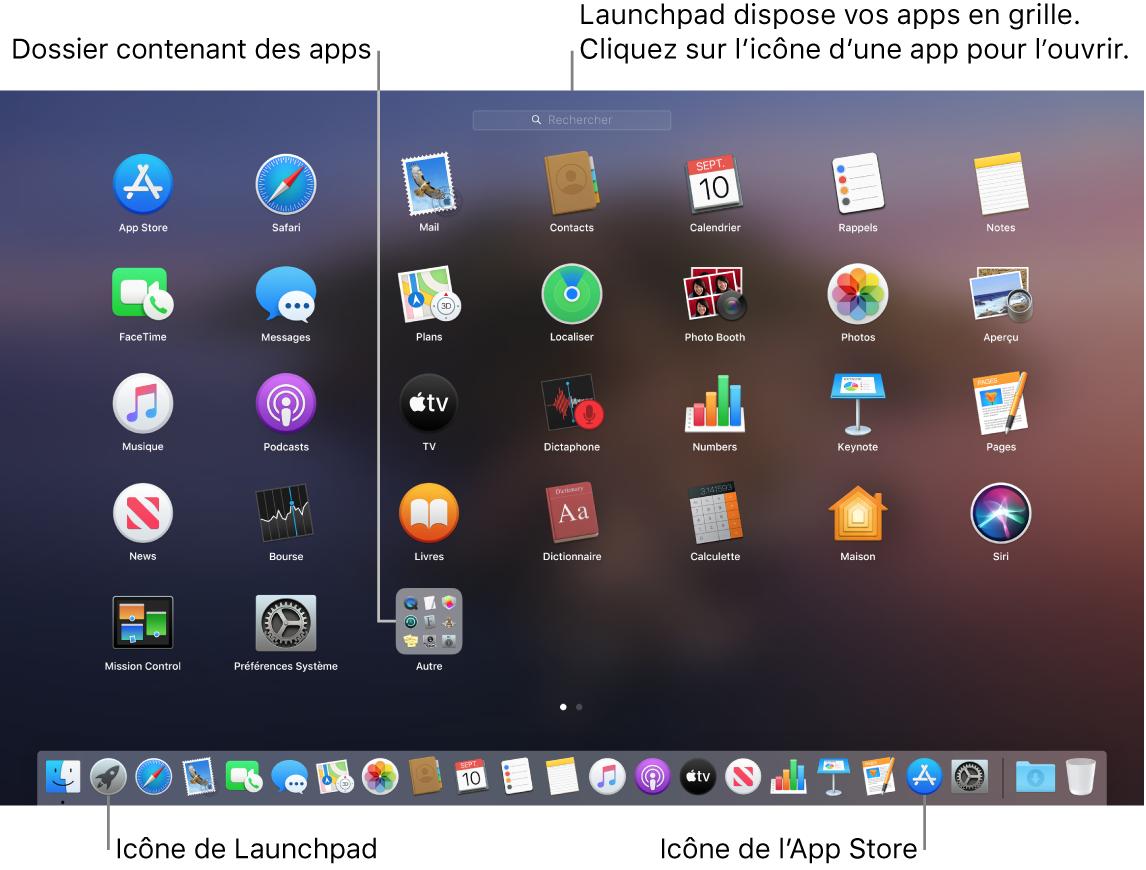 L'écran du Mac avec Launchpad ouvert, affichant un dossier d'apps dans Launchpad, et les icônes Launchpad et Mac App Store dans le Dock.