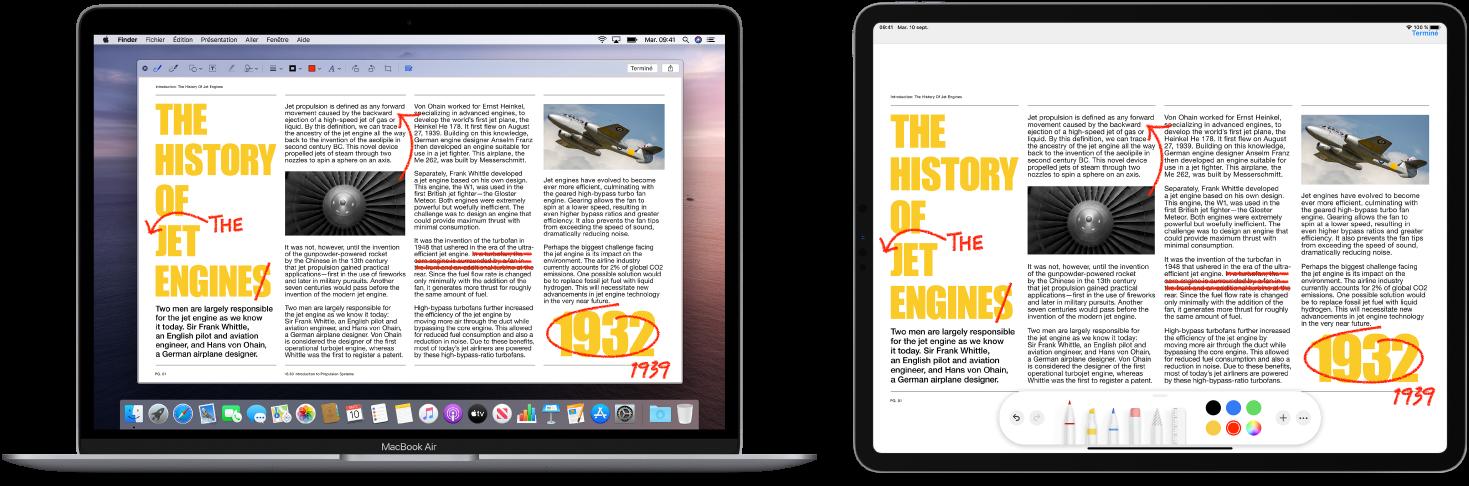 Un MacBookAir et un iPad côte à côte. Les deux écrans affichent un article couvert de modifications griffonnées en rouge, telles que des phrases barrées, des flèches et des mots ajoutés. L'iPad montre également des commandes d'annotation au bas de l'écran.
