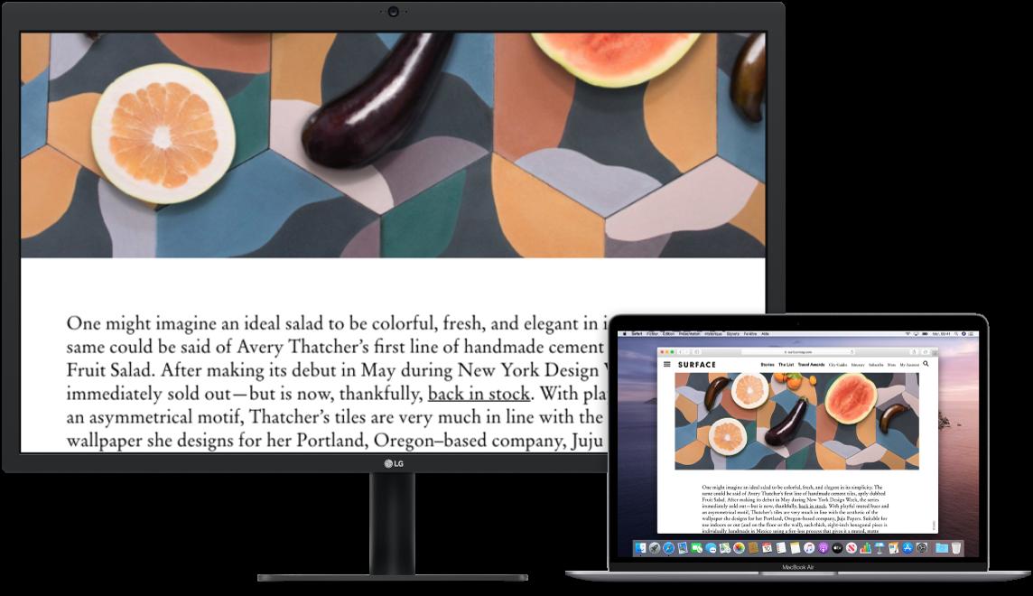 L'écran Zoom est actif sur l'écran du bureau tandis que la taille de l'écran reste fixe sur le MacBookAir.