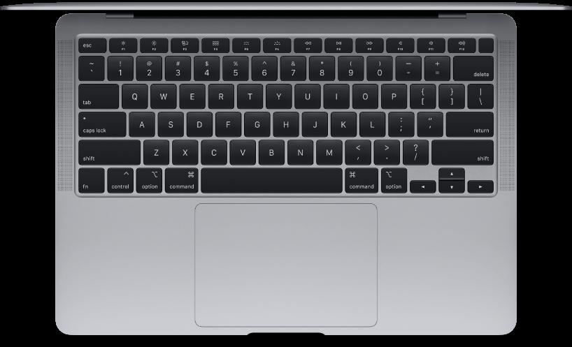 Vue supérieure d'un MacBookAir.