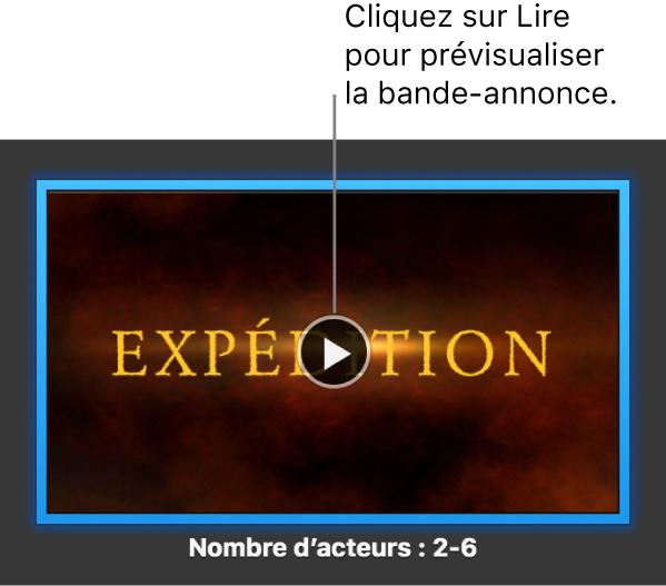 Écran d'iMovie présentant une bande-annonce avec le bouton Lecture surligné.