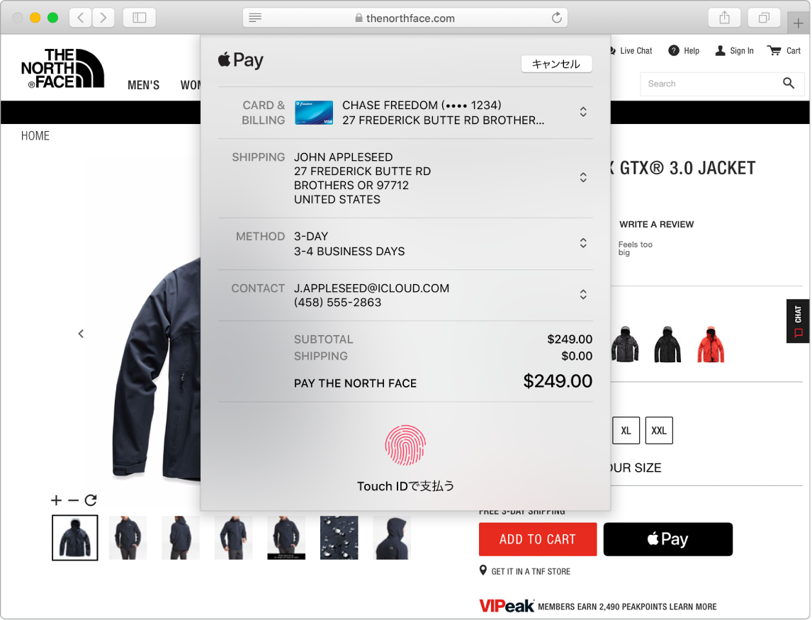 SafariのApple Payオプションを使ってオンラインで購入しているときのMacの画面。