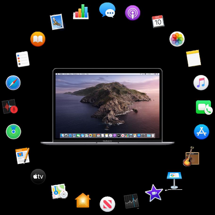Een MacBookAir omringd door symbolen voor de apps die standaard worden meegeleverd en die hierna worden beschreven.