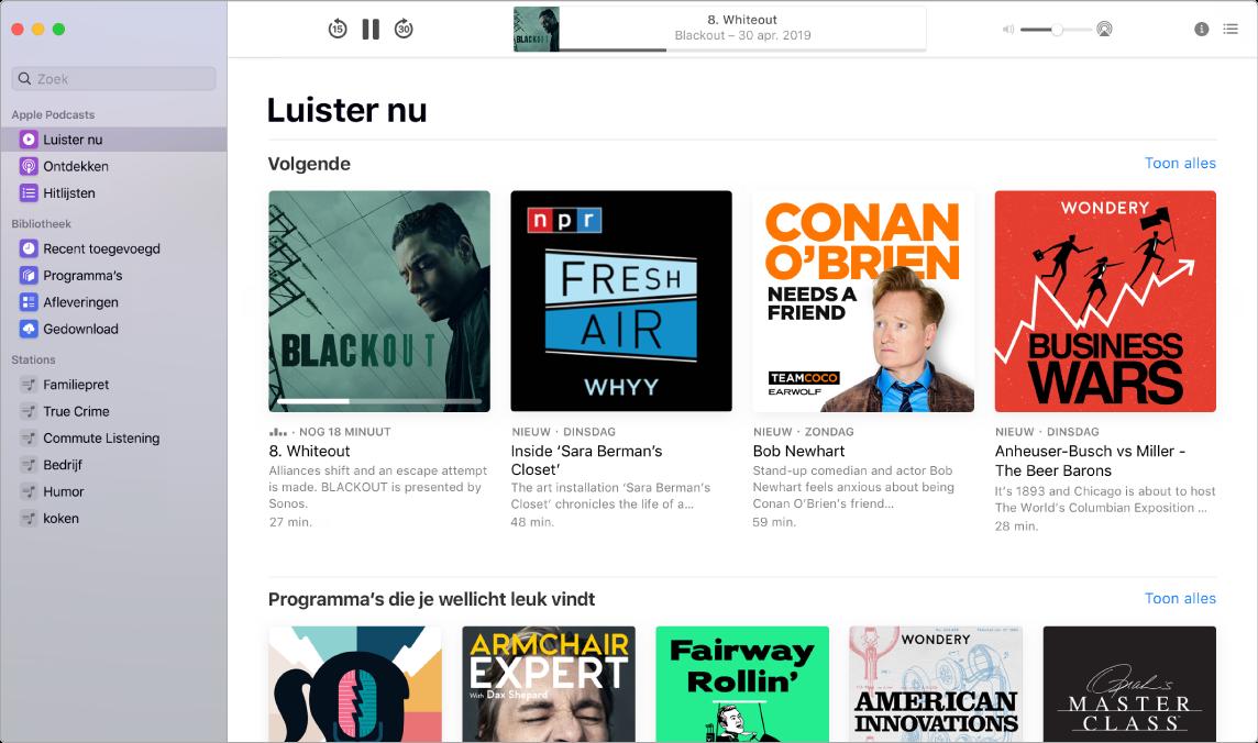 Een Podcasts-venster met het zoekveld en zoekresultaten.