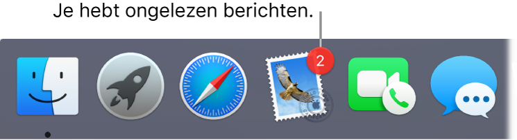 Een gedeelte van het Dock met daarin het appsymbool van Mail, met een badge die ongelezen berichten aangeeft.