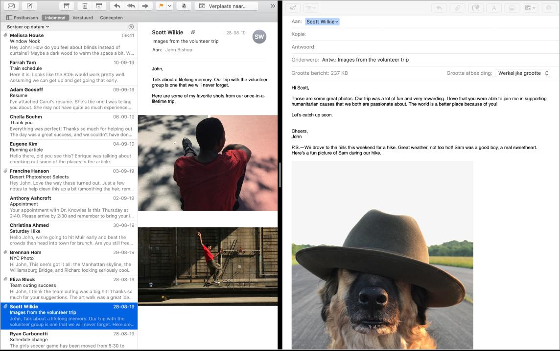 Een Mail-venster in een gesplitst scherm, met daarin twee berichten naast elkaar.