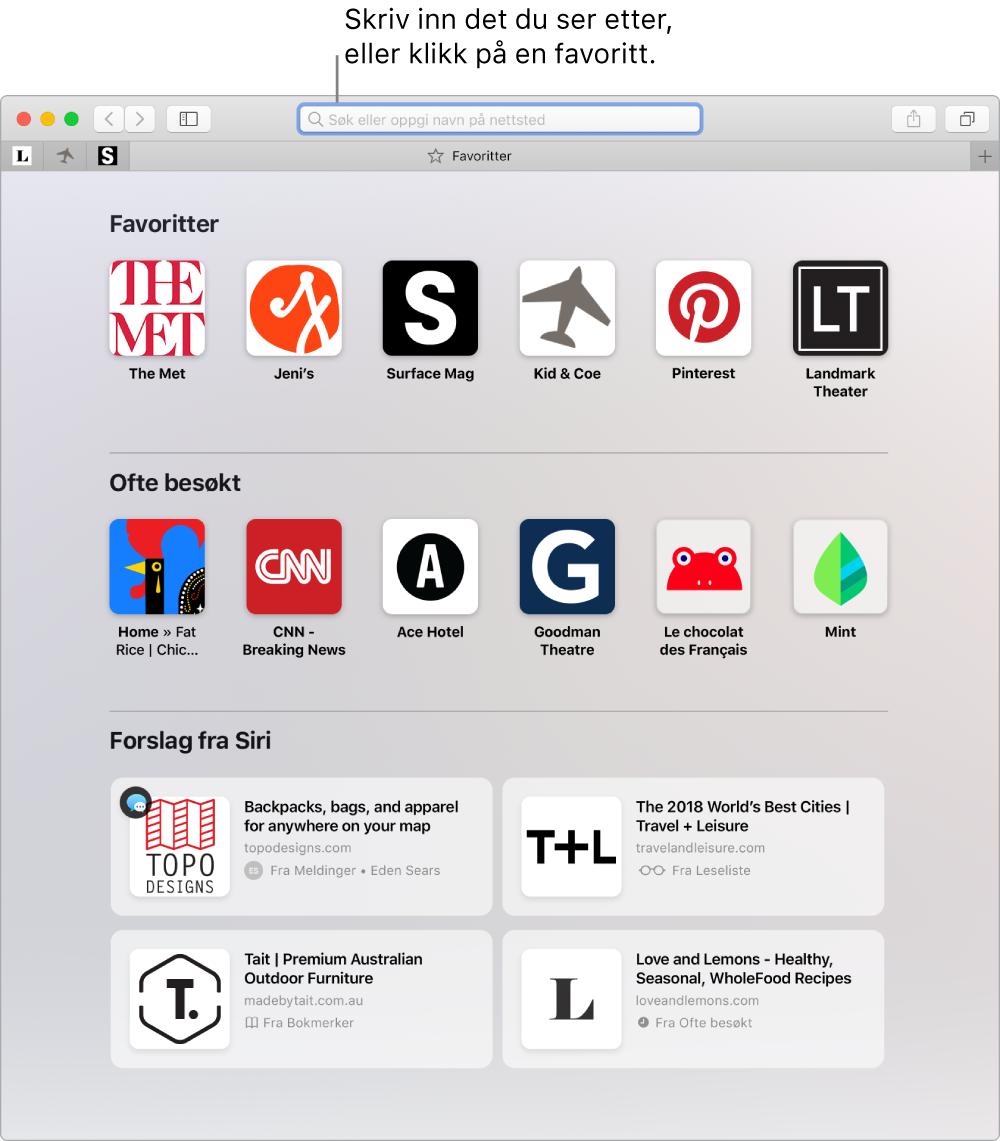 Et Safari-vindu som viser Favoritter-visningen og det smarte søkefeltet uthevet.