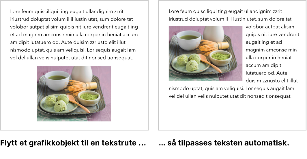 Pages-vindu som viser hvordan tekst bryter rundt grafikk.