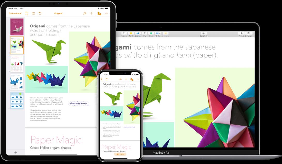 Identisk innhold vises på en MacBook Air, en iPad og en iPhone.