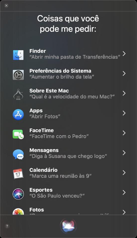 """Janela da Siri com o cabeçalho """"Algumas coisas que você pode me perguntar"""" com exemplos de pedidos à Siri, como """"Itinerários para casa""""."""