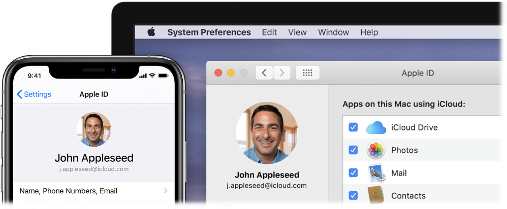 An iPhone showing iCloud settings, and a Mac screen showing the iCloud window.