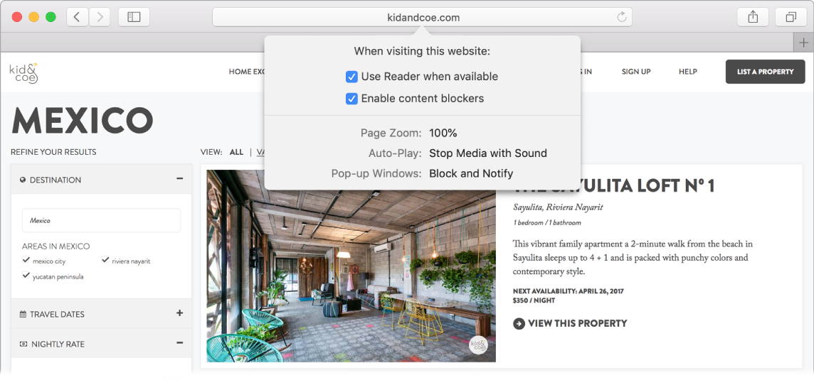 A Safari window showing website preferences, including Use Reader when available, Enable content blockers, Page Zoom, Auto-Play, and Pop-up Windows.