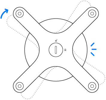 The adapter rotating clockwise.