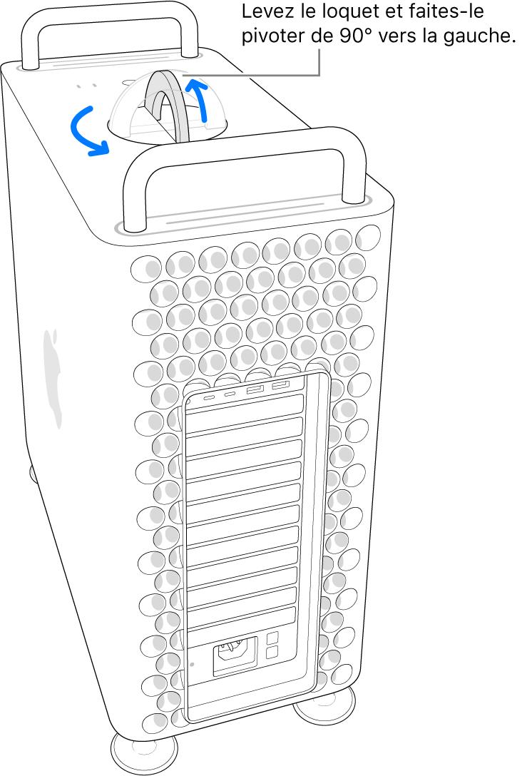 La première étape pour retirer le boîtier de l'ordinateur en soulevant le loquet et en le faisant tourner de 90 degrés.