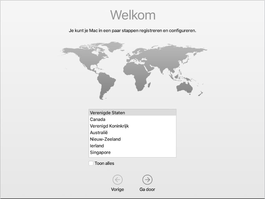 Een Mac-scherm met het welkomstscherm van de configuratie-assistent.