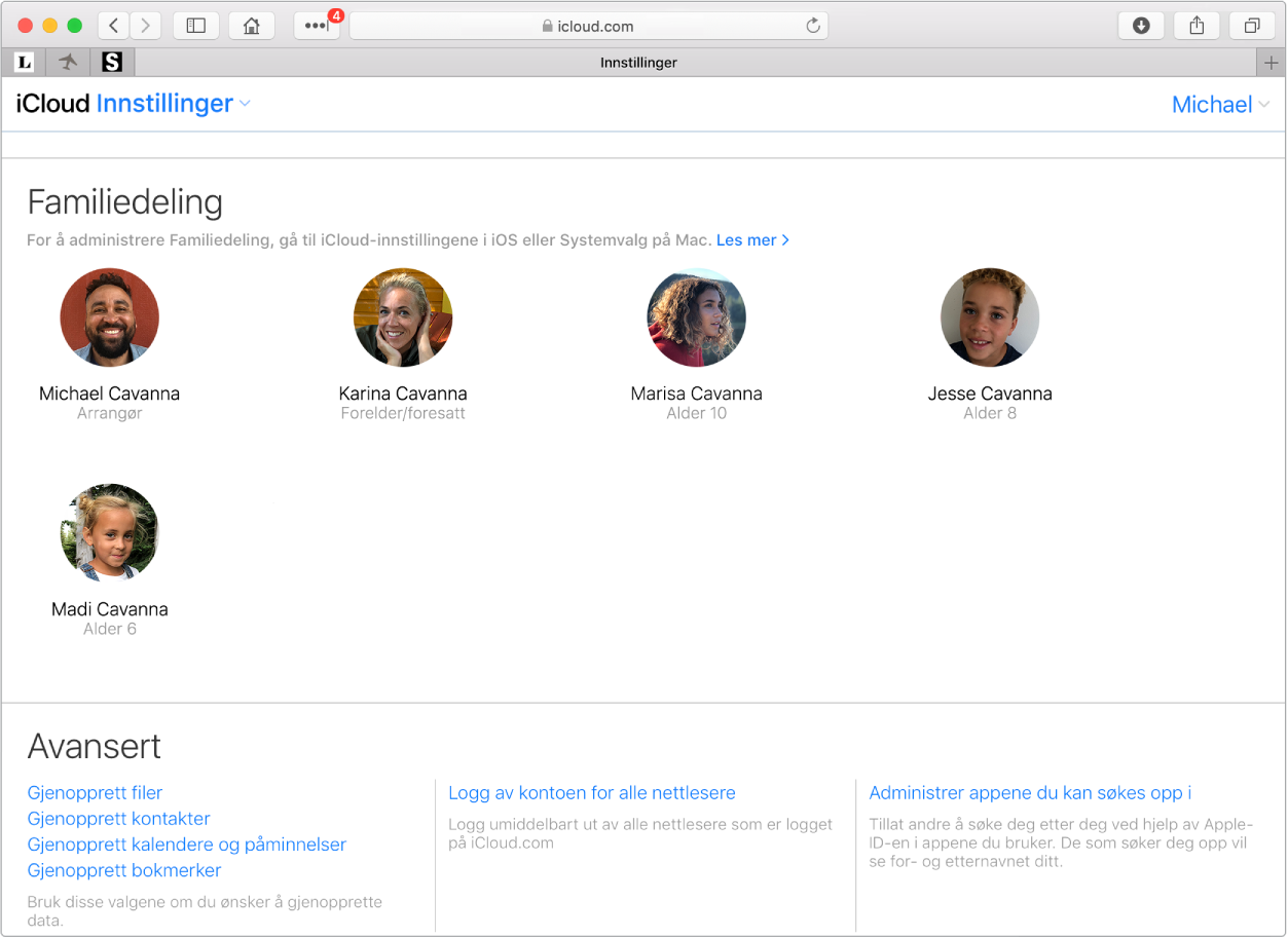 Et Safari-vindu som viser innstillinger for Familiedeling på iCloud.com.