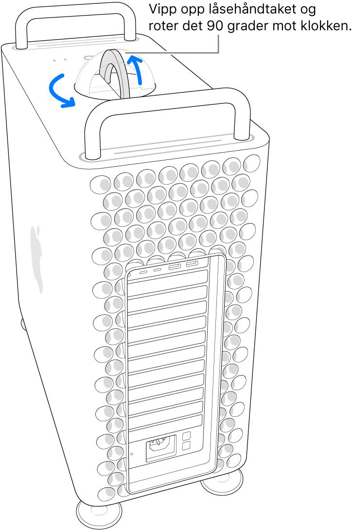 Viser det første trinnet for å fjerne datamaskinens kabinett ved å løfte låsehåndtaket og rotere det 90 grader.