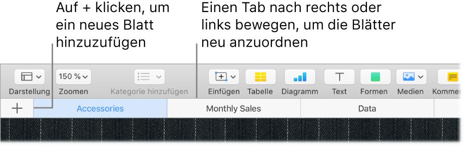 Numbers-Fenster mit Informationen zum Hinzufügen eines neuen Rechenblatts und zum Neuanordnen der Blätter