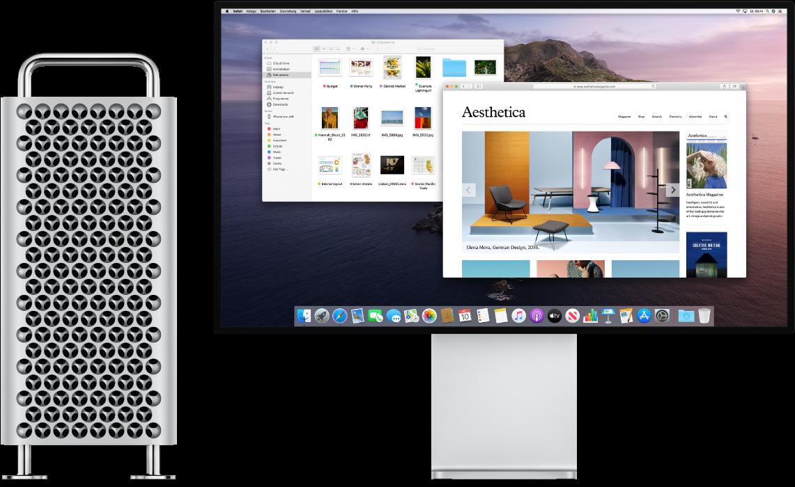 Mac Pro Tower and Pro Display XDR nebeneinander.