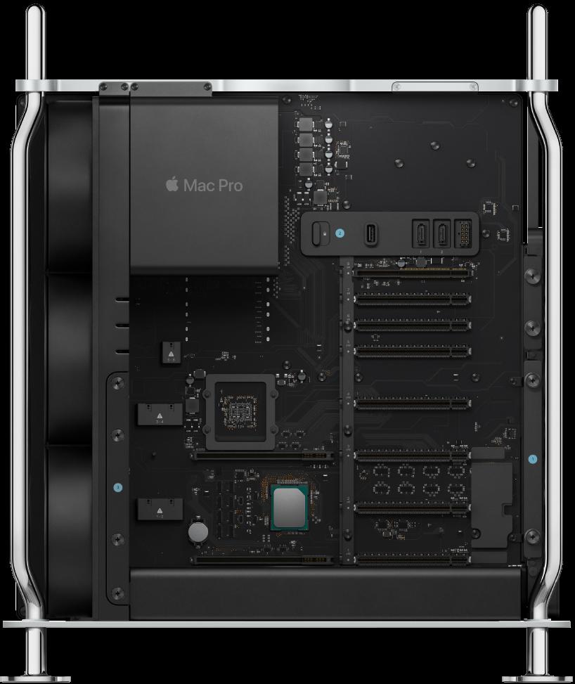 Innenansicht der MacPro-Komponenten.