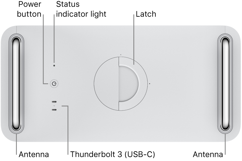 The top of Mac Pro showing the Power button, system indicator light, latch, antenna, and two Thunderbolt 3 (USB-C) ports.