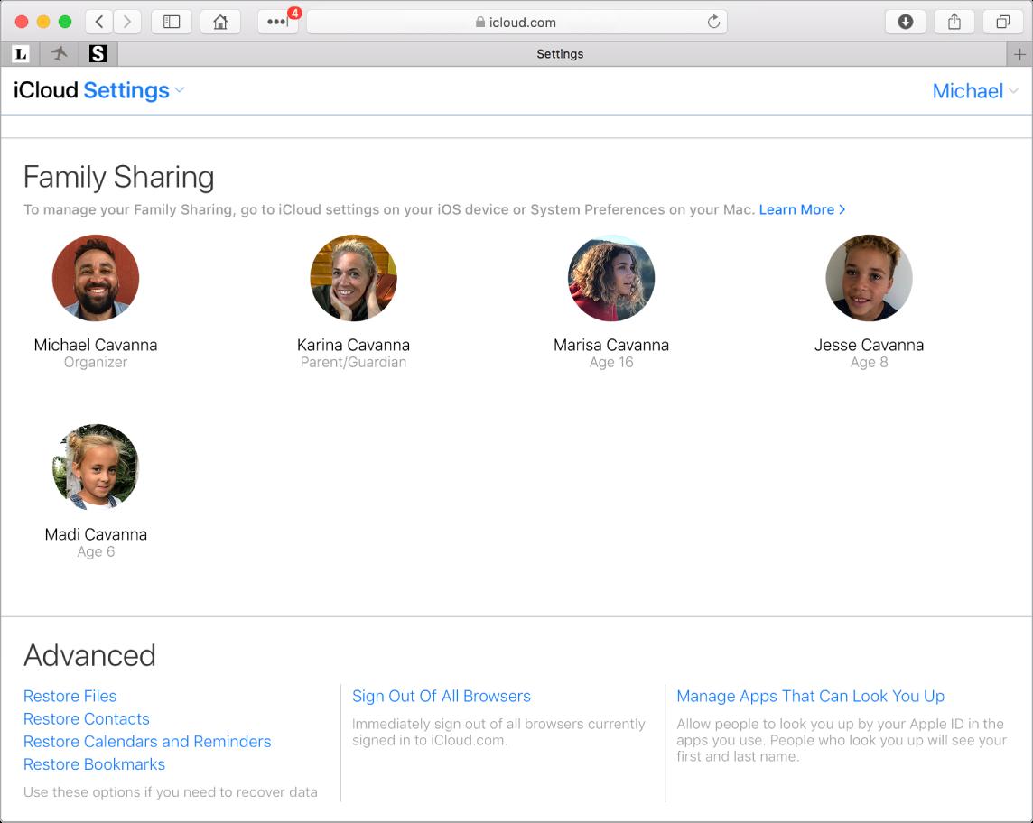 A Safari window showing Family Sharing settings on iCloud.com.