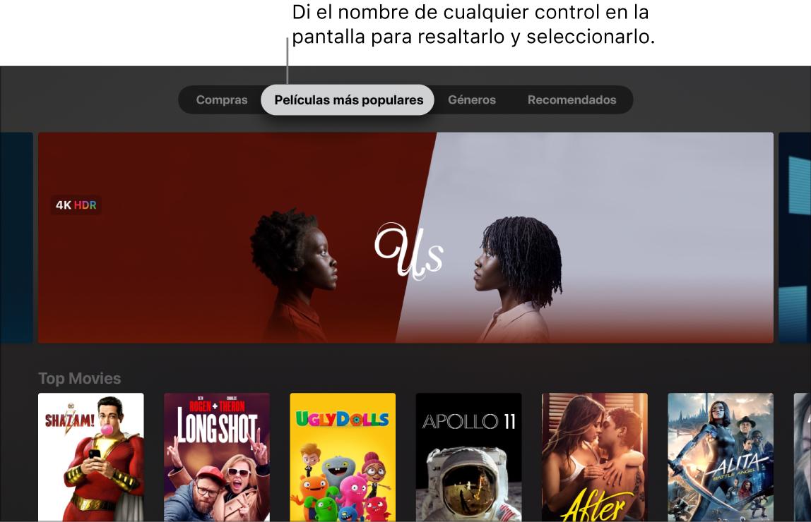 iTunes MovieStore mostrando los comandos de menú que se puede activar con la voz