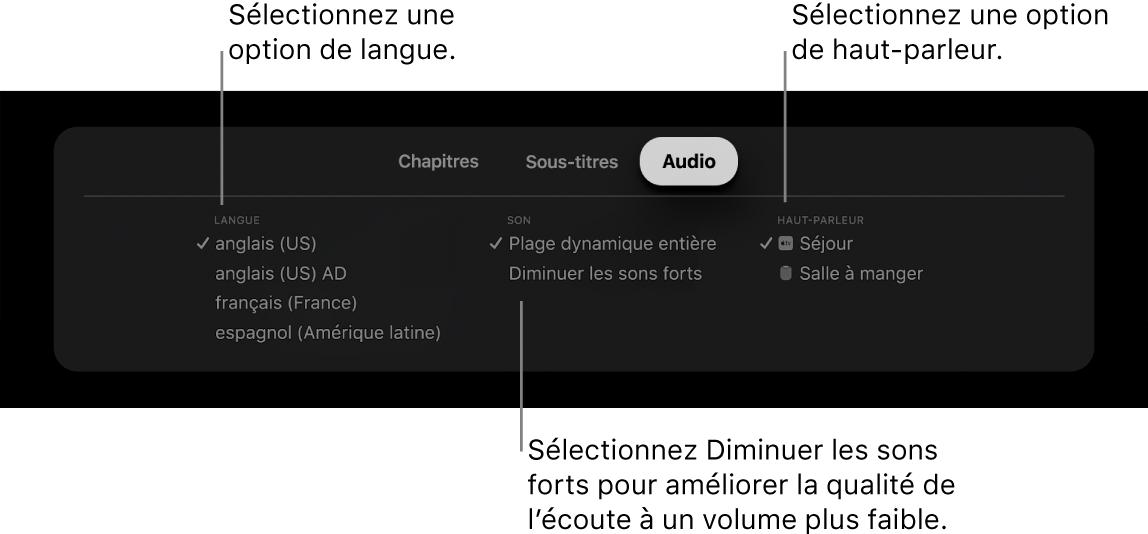 L'écran de lecture avec la sous-fenêtre Audio et le mode Diminuer les sons forts sélectionné