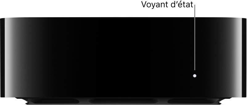 AppleTV avec une légende désignant le voyant d'état