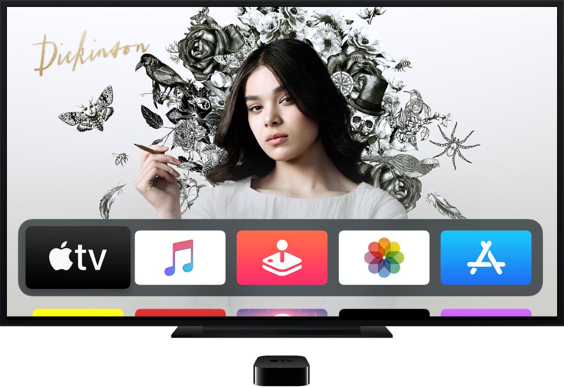 L'AppleTV connectée à un téléviseur sur lequel l'écran d'accueil est affiché