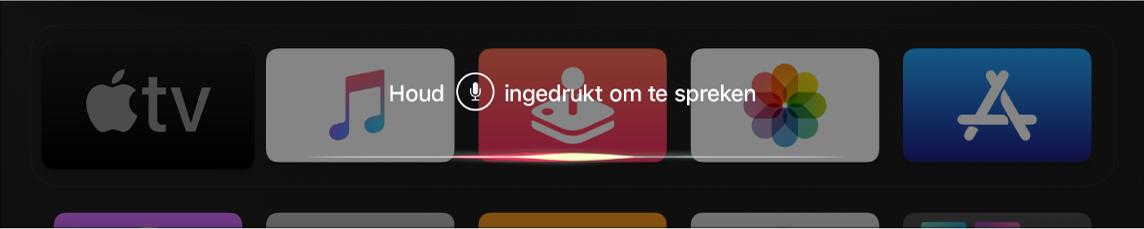 Beginscherm met daarop een Siri-commando
