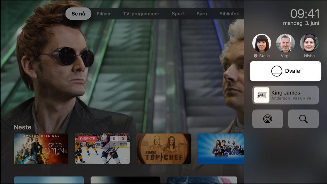 Apple TV-skjerm som viser Kontrollsenter